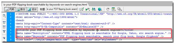 is your pdf flipping book searchable by keywords on search engines