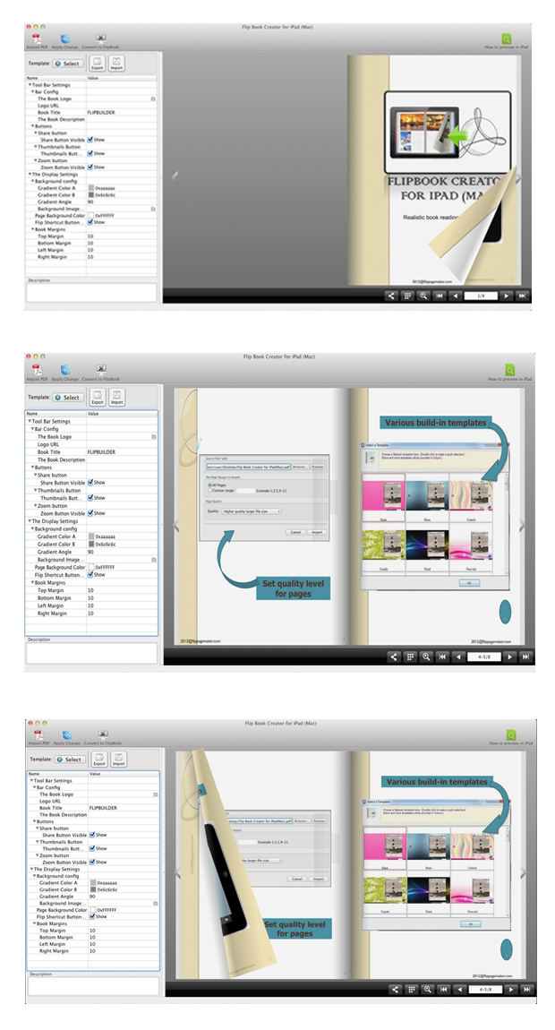 FlipBook Creator for iPad (Mac) full screenshot