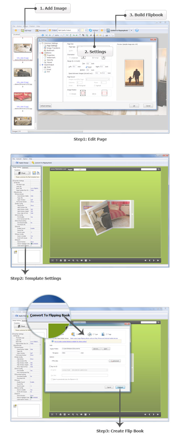 screenshots for Image to FlipBook maker