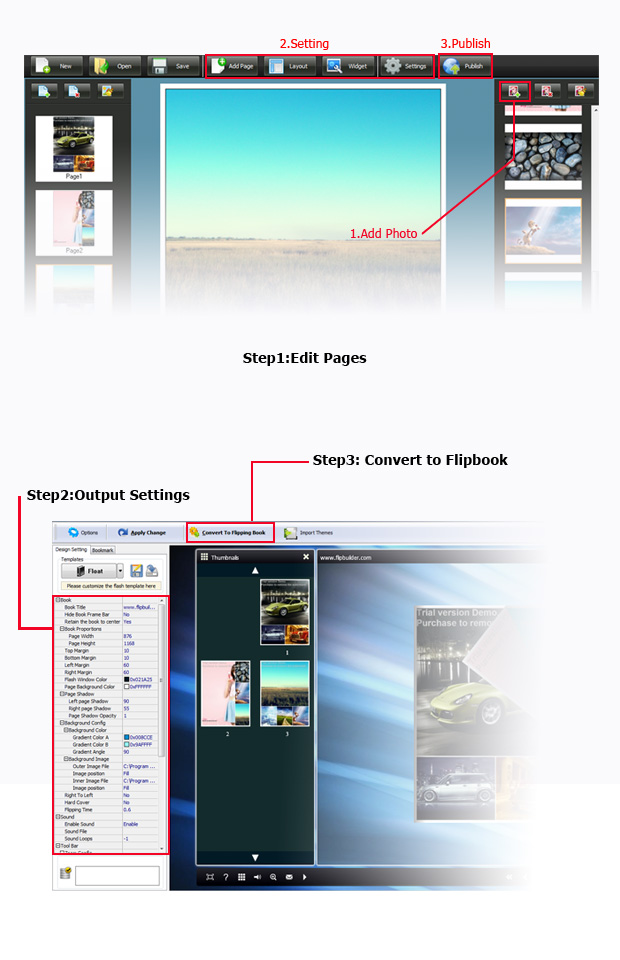 Photos to flipping photo album software, Convert Photos