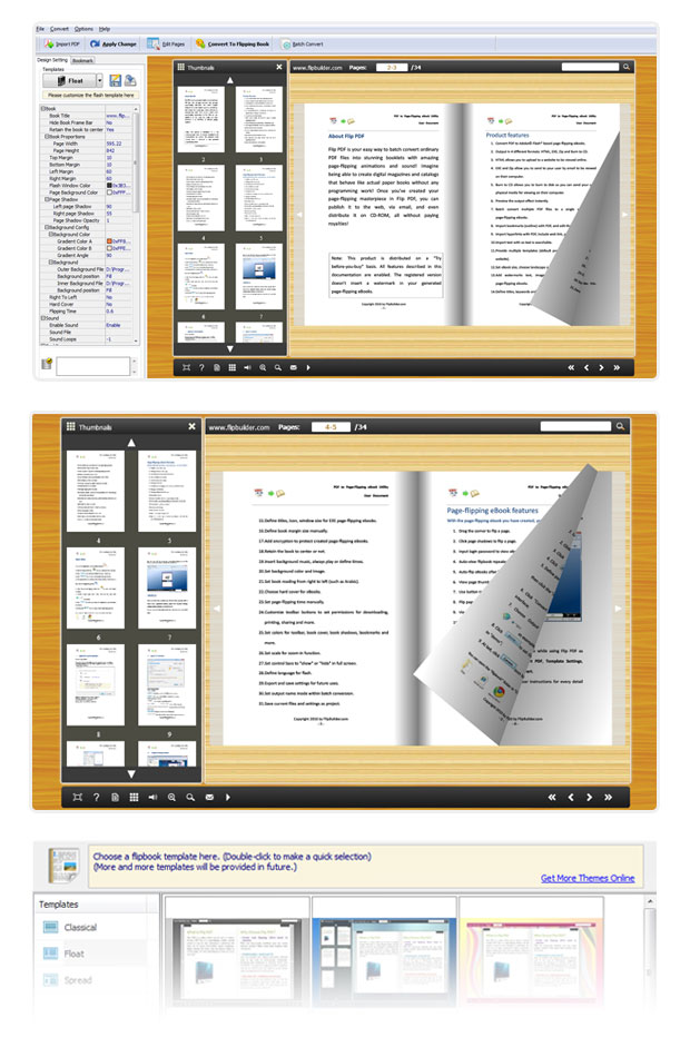 Convert microsoft word and openoffice to flash flip book for Html flip book template